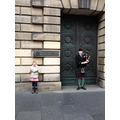 Outside the High Court enjoying the bagpipes!