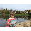 Daniel reading whilst at Gulliver's World