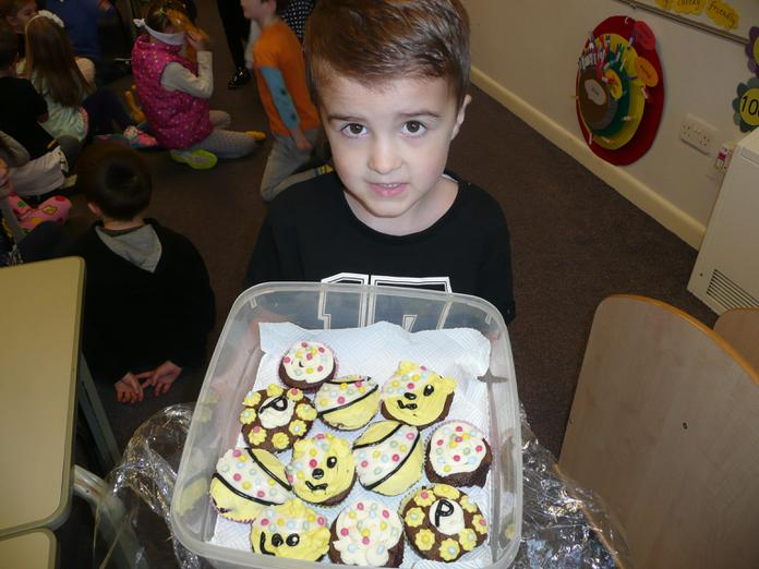 Jenson brought cakes for the cake sale.