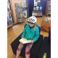 Enjoying a book at the library!
