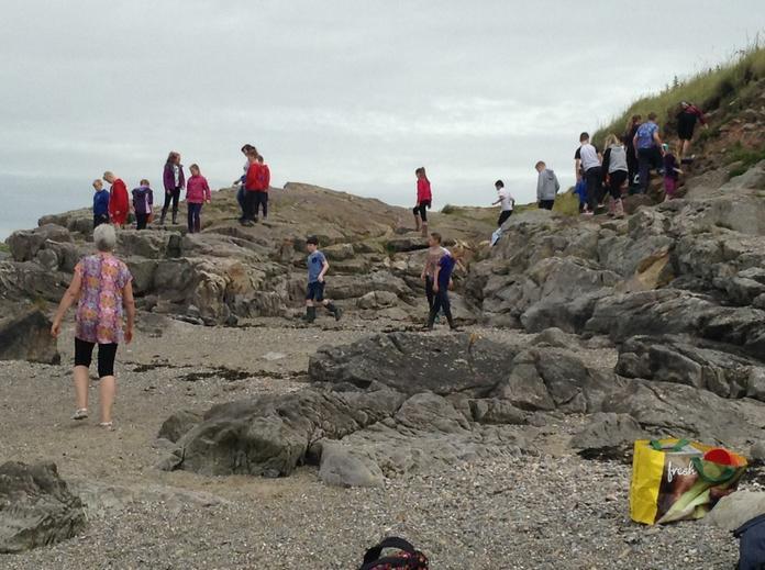 Climbing the limestone rocks.