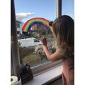 Rainbow window painting