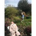 Joshua doing some gardening whilst Lily relaxes!!!