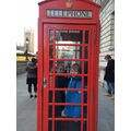 Trying out the red phone box!