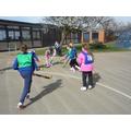 Practising our push pass skills.