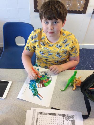 Colouring activities in school.