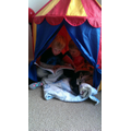 Benjamin and Thomas enjoying their reading tent!