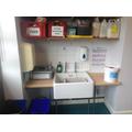 Sink with handwashing facilities