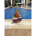Reading poolside in Turkey