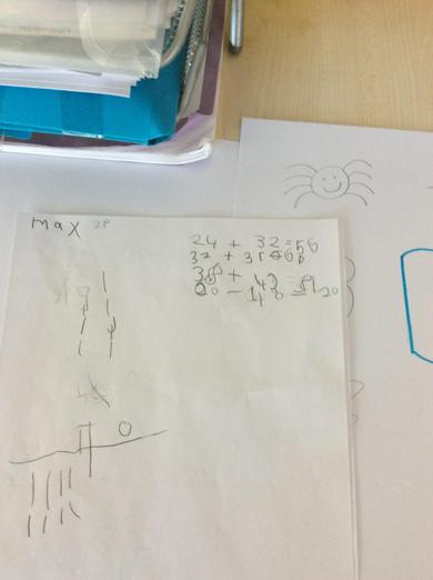 Max has been practising addition and subtraction.