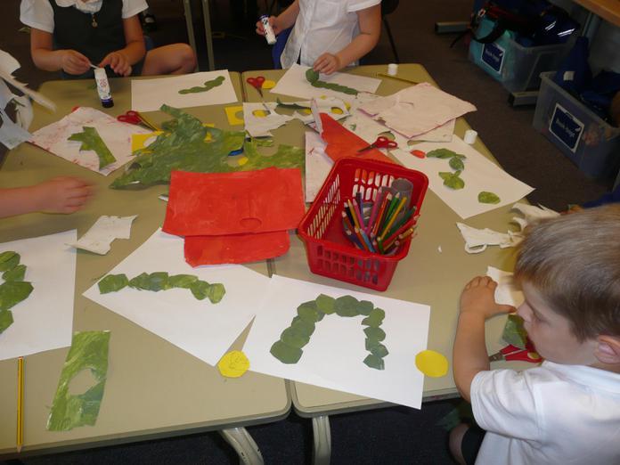 Creating our caterpillar bodies.