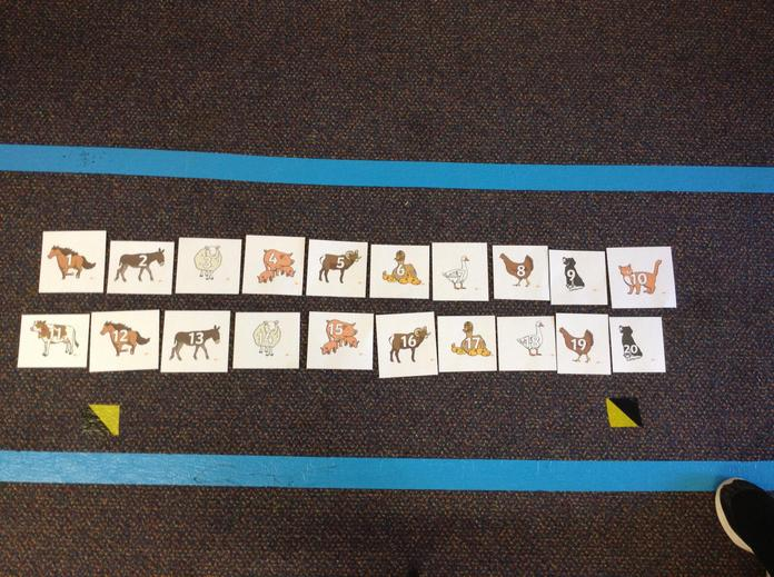 Ask your child to order the numbers making a giant numberline.