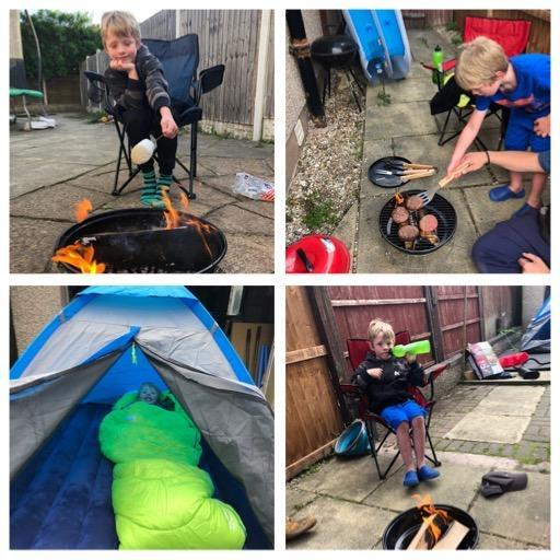 Oliver has been learning new skills whilst camping