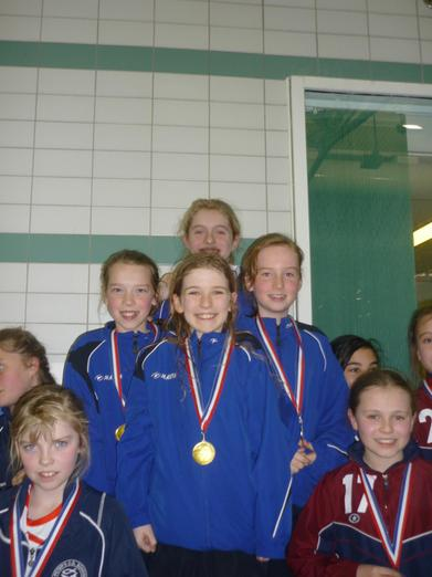 1st in the girls' relay