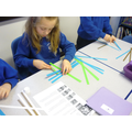We had to carefully weave the strips of paper!
