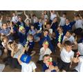 Creating our own scarecrow puppets to tell the story