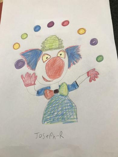 An excellent picture of a clown juggling, Joseph!