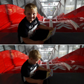 Charlie reading at the top of a huge slide!