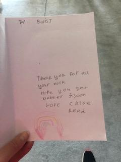 Chloe's Get Well card for Boris.