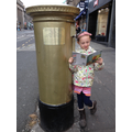 Amy reading by Chris Hoy's post box in Edinburgh!