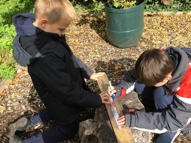 Measuring for our bird boxes.
