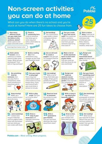 Some nice ideas for alternatives to screen time