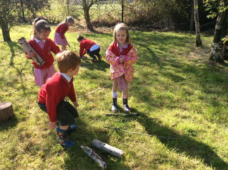 Enjoying Forest School activities