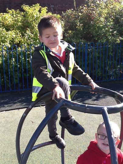 Clever boy balancing!
