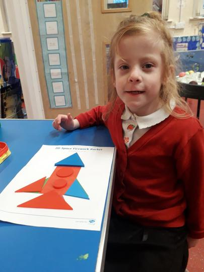 We used shapes to make a rocket