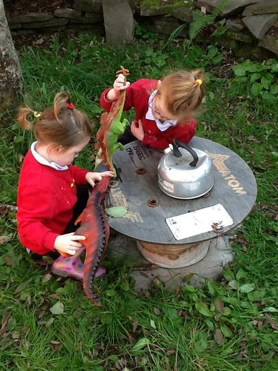 A dinosaur outdoor tea party!