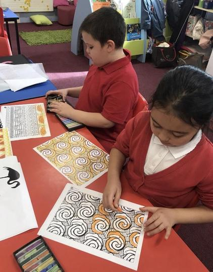 Using pastels to copy African patterns