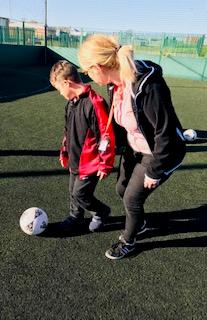 Learning ball skills.