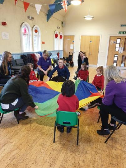 Fun with the parachute in Music Therapy