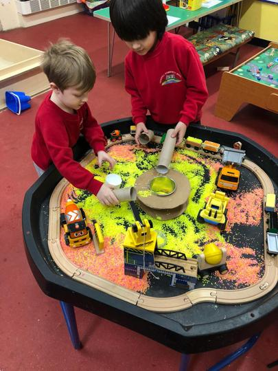 Learning about friction using cars and diggers