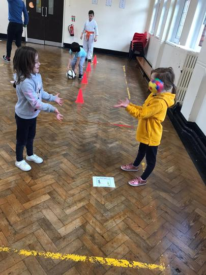 Practising our catching skills