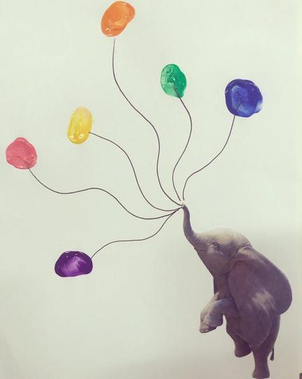 Fingerprint art for our topic 'Dumbo.'