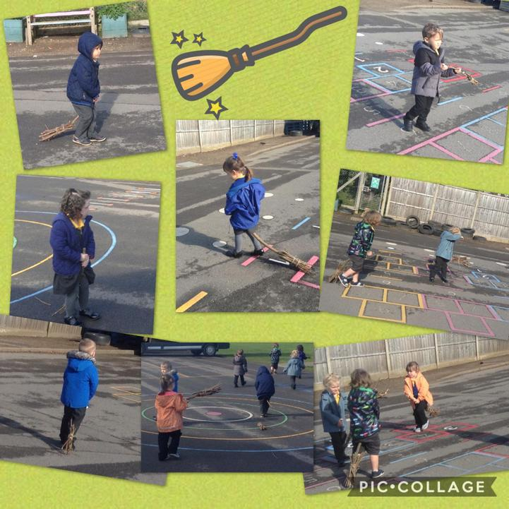 We made our own broomsticks and flew the on the playground.