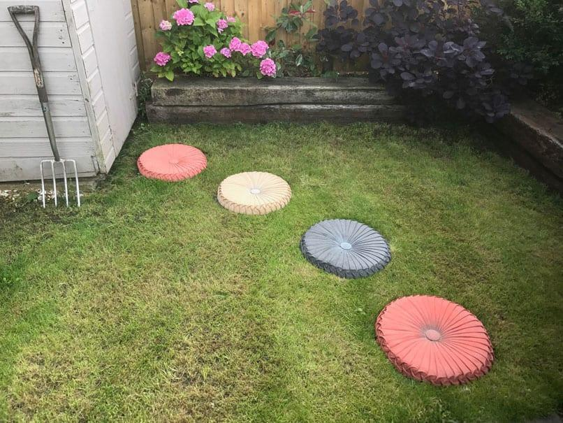 Make a path of cushions or other household objects