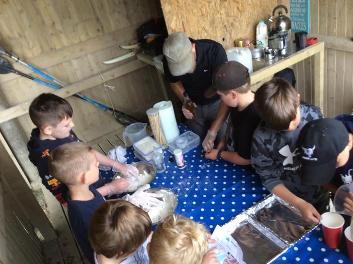 Making campfire bread