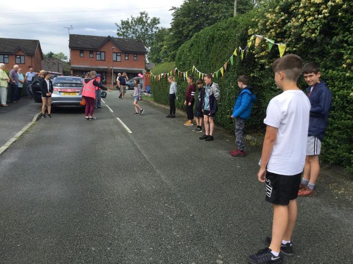 As pupils lined Brooklea Close.