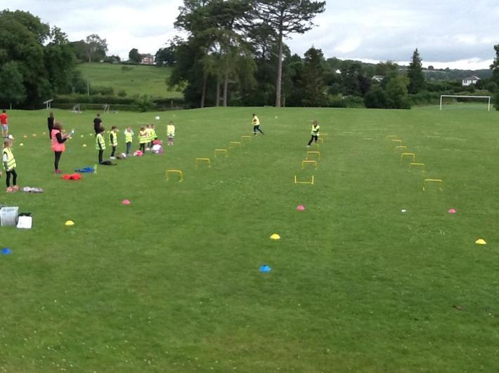 Pupils ran the hurdles