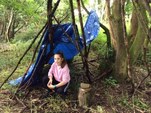 Making a shelter in the woods