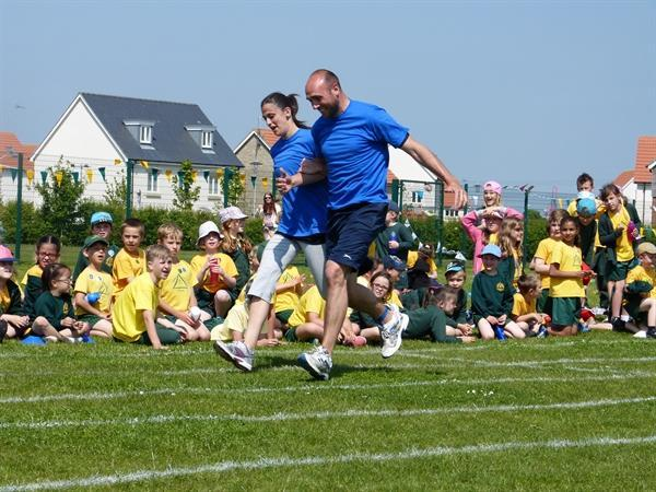 Mrs Spearey & Mr Gingell get up & race to the end!