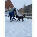 A having fun in the snow