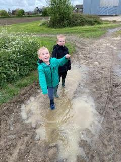 G & H enjoying the muddy puddles!