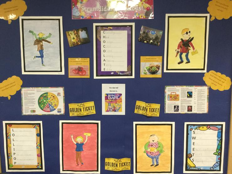 Year 3 children used watercolour paints to paint scrumdiddlyumptious character.