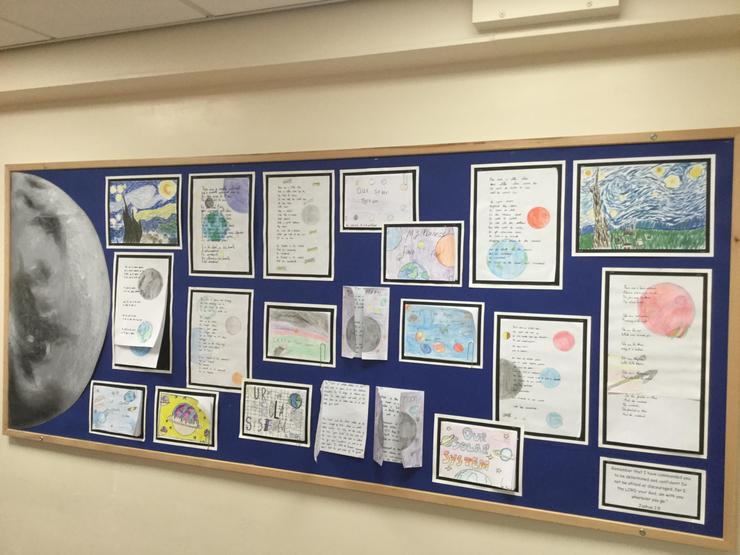 Year 5 children used watercolour paints for starry night pictures in the style of Van Gogh