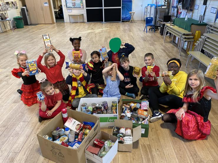 Our wonderful school council collecting the food donations.