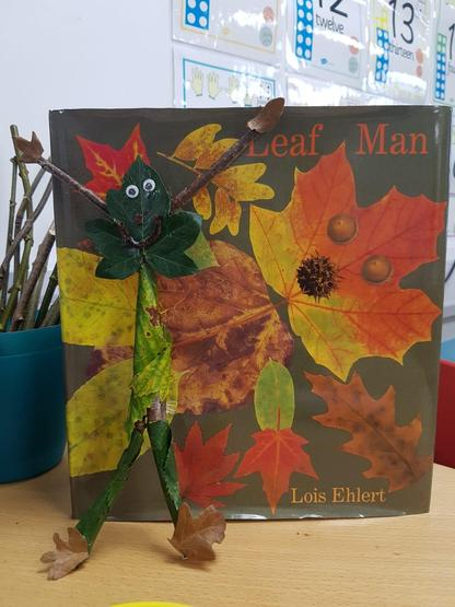 FS2 children enjoyed collecting natural resources and creating their own Leaf Man.