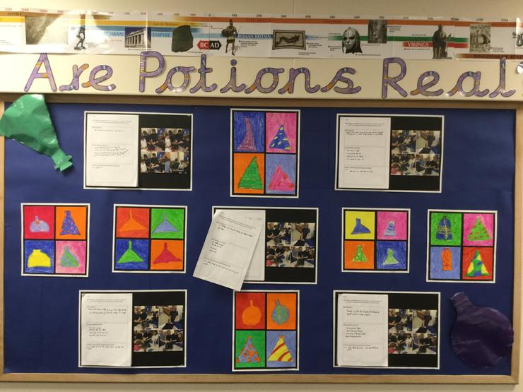 Year 4 used pastels to design potion bottles in the style of Andy Warhol.